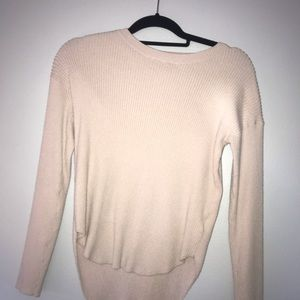 ribbed baby pink/cream express sweater